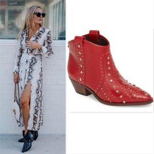 New SAM EDELMAN Red Studded Western Ankle Boots 9